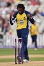 Recordo Gordon took three wickets to limit Yorkshire's total, Birmingham v Yorkshire, NatWest T20 Blast North Group, Edgbaston, June 21, 2015