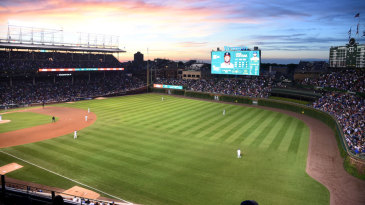 A view of Wrigley Field, a historic baseball venue in Chicago