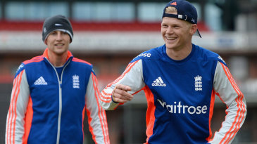 Sam Billings enjoys a lighter moment during England practice
