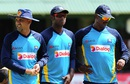 Brains trust: Angelo Mathews watches Sri Lanka's practice session with head coach Marvan  Atapattu and bowling coach Champaka Ramanayake, Colombo, June 23, 2015