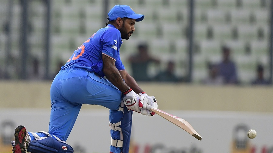 Shikhar Dhawan pulls out the paddle sweep