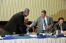 N Srinivasan congratulates Zaheer Abbas, Barbados, June 25, 2015