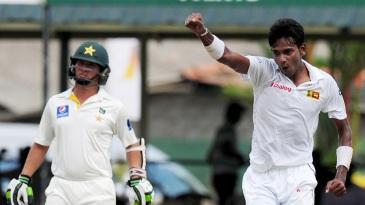 Dushmantha Chameera celebrates his maiden Test wicket
