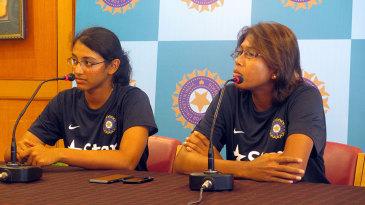 Smriti Mandhana and Jhulan Goswami address the press
