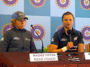 New Zealand head coach Haidee Tiffen and captain Suzie Bates at the pre-series press conference, Bangalore, June 25, 2015