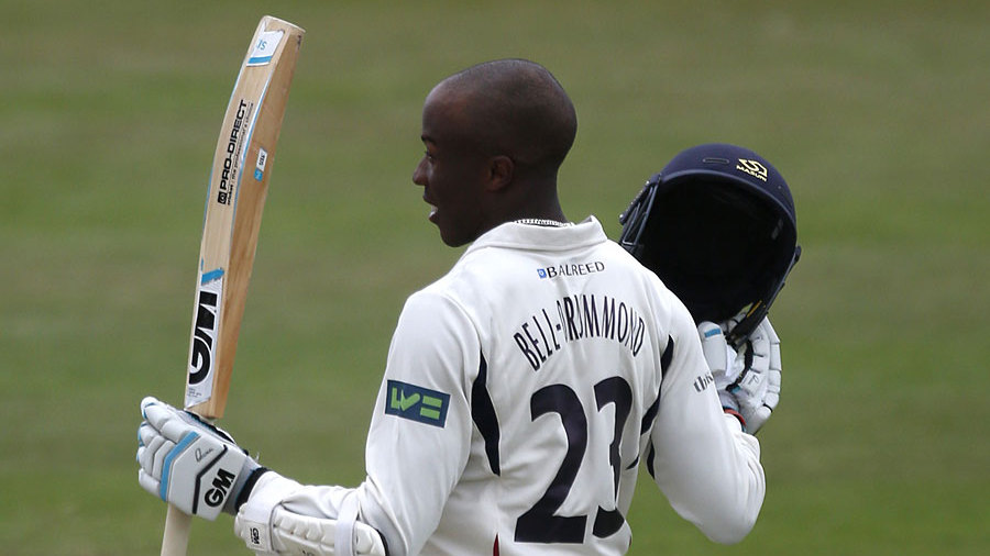 Daniel Bell-Drummond celebrates his hundred