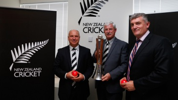 Sir Richard Hadlee with the Chappell-Hadlee trophy