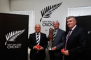 Sir Richard Hadlee with the Chappell-Hadlee trophy, Auckland, June 30, 2015