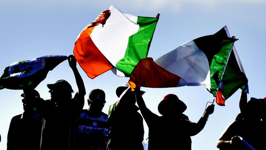 Ireland flags fly high