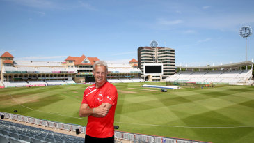 Former England coach Peter Moores poses at Trent Bridge on the first day of his new role as Nottinghamshire's Coaching Consultant