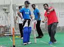 Pravin Amre gives batting tips to Ajinkya Rahane, Mumbai, July 5, 2015