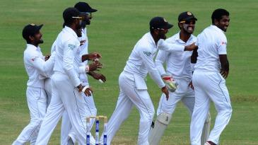The Sri Lankans celebrate Dhammika Prasad's strike