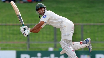 Younis Khan flays the ball through the leg side