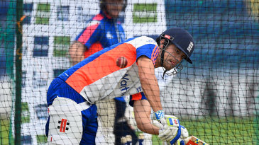 Alastair Cook works in the nets