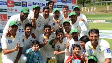 The victorious Pakistan team after winning the series 2-1