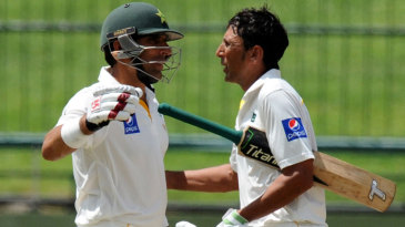 Younis Khan and Misbah-ul-Haq celebrate after Pakistan's record chase