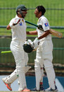 Younis Khan and Misbah-ul-Haq celebrate after Pakistan's record chase, Sri Lanka v Pakistan, 3rd Test, Pallekele, 5th day, July 7, 2015