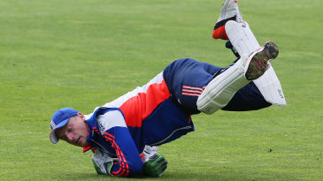 It's there somewhere: Jos Buttler takes a catch in practice