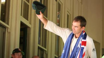 Justin Langer waves goodbye