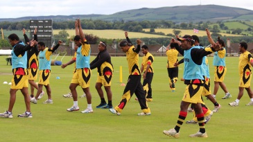 Papua New Guinea players during a warm-up session