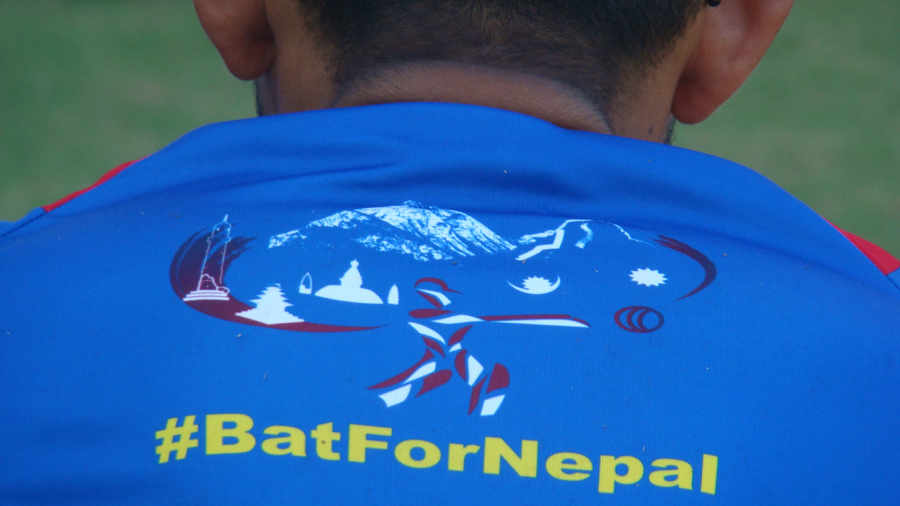 Close-up of the back of a Nepal player's shirt