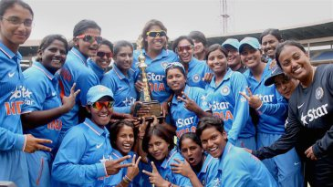 The Indian women's team poses with the trophy after their series win