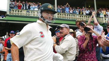 Steve Waugh walks out for his final Test innings