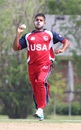 Adil Bhatti runs in to bowl at the death, United States of America v Suriname, ICC Americas Region Division One Twenty20, Indianapolis, May 8, 2015
