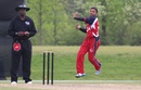 Timil Patel bounds in to the crease, United States of America v Canada, ICC Americas Region Division One Twenty20, Indianapolis, May 9, 2015