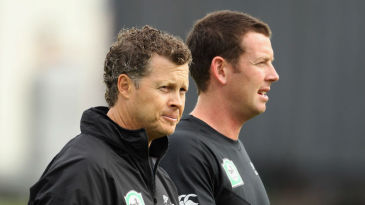 New Zealand spin-bowling coach Paul Wiseman with Ian Butler