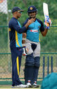 Coach Marvan Atapattu chats with Milinda Siriwardana, Dambulla, July, 10, 2015