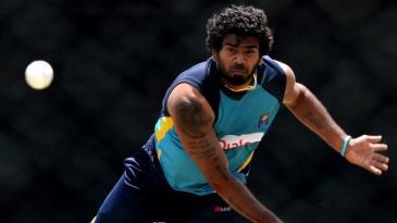 Lasith Malinga has a bowl during Sri Lanka's practice