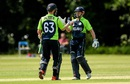 William Porterfield is congratulated by Andy Balbirnie after reaching his fifty, Ireland v Namibia, World Twenty20 Qualifier, Belfast, July 10, 2015