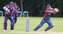 Gyanendra Malla cracks a four through the off side to bring up his fifty, Nepal v USA, World Twenty20 Qualifier, Belfast, July 10, 2015