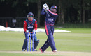 Akeem Dodson drives straight back down the ground, Nepal v USA, World Twenty20 Qualifier, Belfast, July 10, 2015