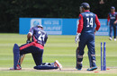 Adil Bhatti is bowled by Basant Regmi, Nepal v USA, World Twenty20 Qualifier, Belfast, July 10, 2015