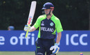 William Porterfield raises his bat after reaching fifty, Ireland v Namibia, World Twenty20 Qualifier, Belfast, July 10, 2015