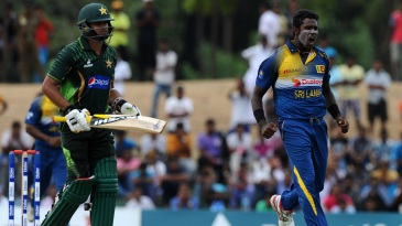 Angelo Mathews is pumped up after removing his counterpart Azhar Ali
