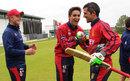 Ben Stevens congratulates Peter Gough after Jersey's nine-wicket win, Hong Kong v Jersey, World T20 Qualifier, Bready, July 11, 2015