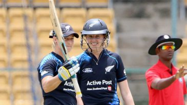Sophie Devine brings up her fifty in the company of Amy Satterthwaite