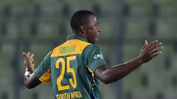 Kagiso Rabada is delighted after dismissing Litton Das