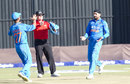 Harbhajan Singh and Ajinkya Rahane celebrate a wicket, Zimbabwe v India, 2nd ODI, Harare, July 12, 2015