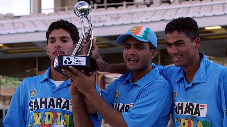 Yuvraj Singh, Sourav Ganguly and Mohammad Kaif celebrate with the Natwest Trophy