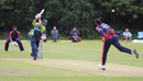 Stuart Thompson drives back down the ground, Ireland v USA, World T20 Qualifier, Group A, Belfast, July 12, 2015