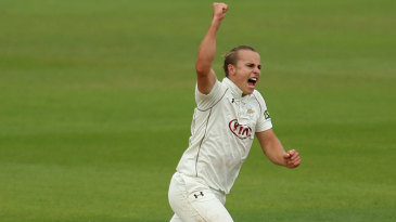 Tom Curran celebrates one of his two opening day wickets