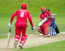 Hiral Patel plays the paddle sweep en route to his 45, Canada v United Arab Emirates, World T20 Qualifier, Stirling, July 14, 2015