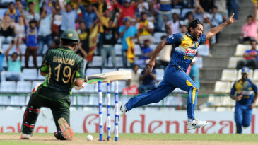 Sachith Pathirana took the wicket of Ahmed Shehzad on his ODI debut