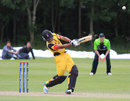 Norman Vanua launches the winning six, Ireland v Papua New Guinea, ICC World T20 Qualifier, Belfast