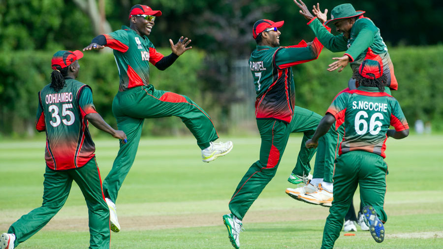 The Kenya players enjoy a celebratory jig after their 42-run win