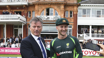 Peter Nevill receives his baggy green from Steve Waugh ahead of his Test debut at Lord's